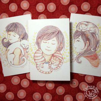 set of 3 art cards